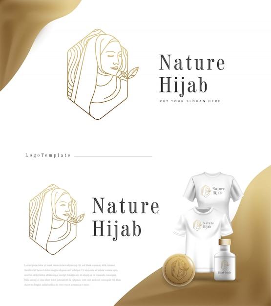 Luxury nature logo hijab fashion Free Vector