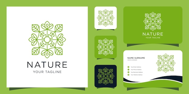 豪華な自然のロゴ。葉と蓮のモダンなスタイルのデザインテンプレートと名刺 Premiumベクター