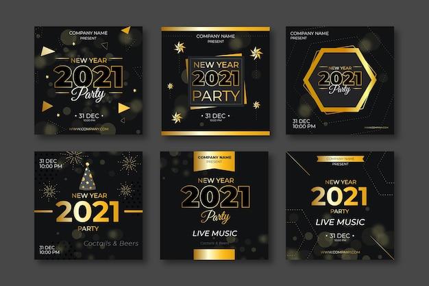 豪華な新年2021年のinstagramの投稿 Premiumベクター