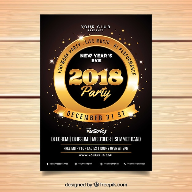 luxury new year flyer template free vector