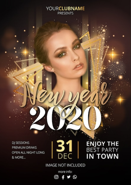 Luxury new year's party poster template Free Vector