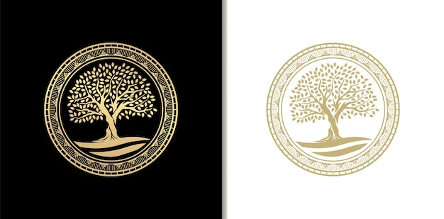 Luxury oak tree stamp, badge or circle frame logo with river, lake or water. golden gradient color Premium Vector