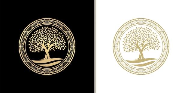 Роскошный дубовый штамп, значок или круглая рамка с логотипом реки, озера или воды. золотой градиентный цвет Premium векторы