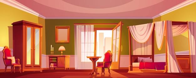 朝または日の時間で豪華な古い寝室のインテリア。 無料ベクター