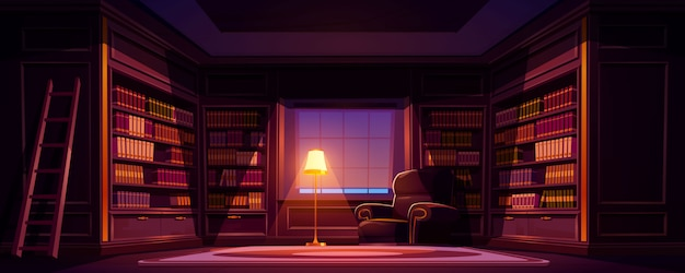 Luxury old library interior at night, dark empty room for reading with books on wooden shelves Free Vector