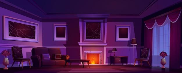 Luxury old living room dark interior fireplace Free Vector