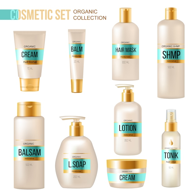 Luxury organic cosmetics and beauty products collection with cream lotion lip balm and soap dispense Free Vector