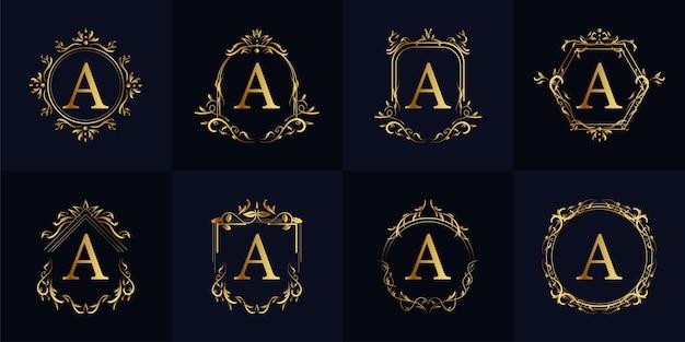 럭셔리 장식 프레임 이니셜 A 로고 세트 컬렉션. 프리미엄 벡터