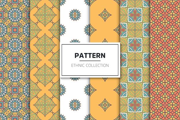 럭셔리 장식 에스닉 패턴 컬렉션 무료 벡터