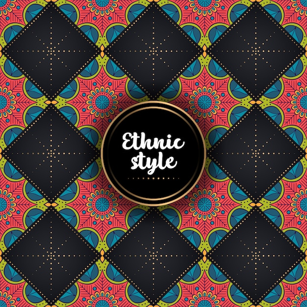 Luxury ornamental ethnic pattern Free Vector