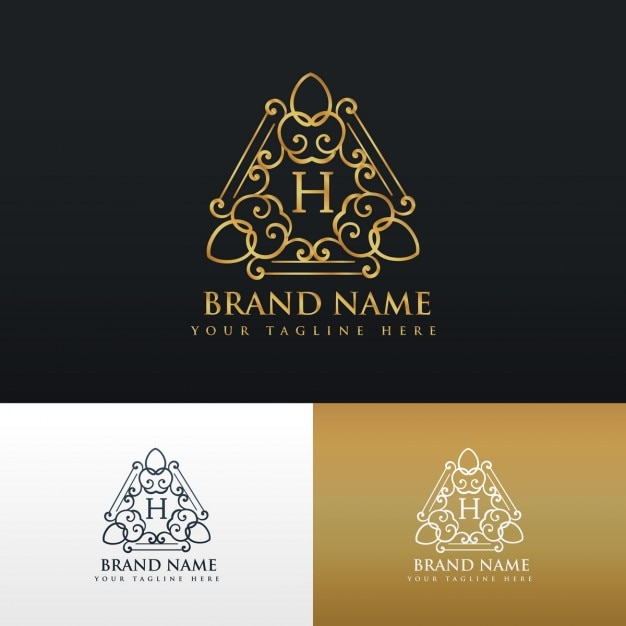 c35c9b6159e Luxury ornamental logo with letter h Free Vector