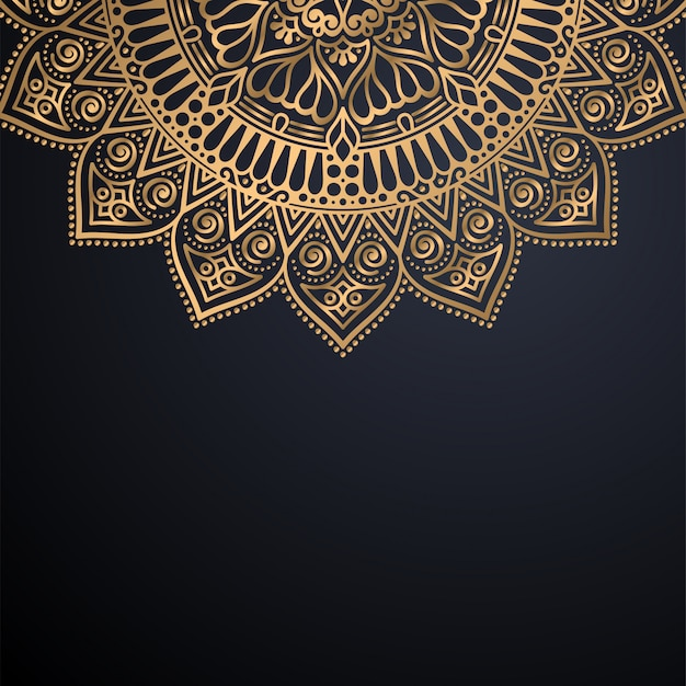 Luxury ornamental mandala design background in gold color vector Free Vector