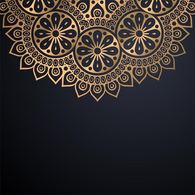 Priorità bassa di disegno della mandala ornamentale di lusso nel vettore di colore dell'oro Vettore gratuito