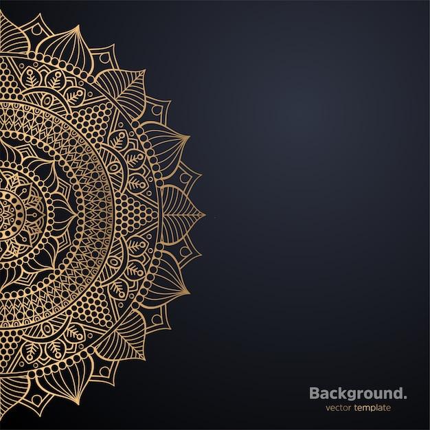 Luxury ornamental mandala design background in gold color Premium Vector