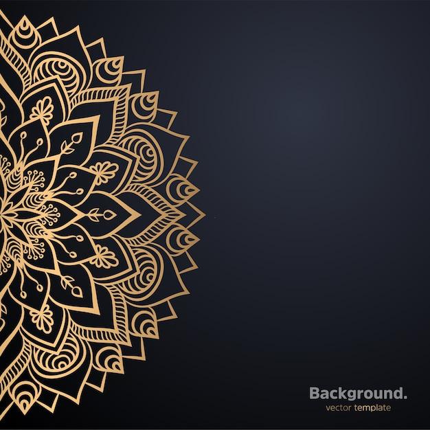 Sfondo di design mandala ornamentale di lusso in colore oro Vettore gratuito