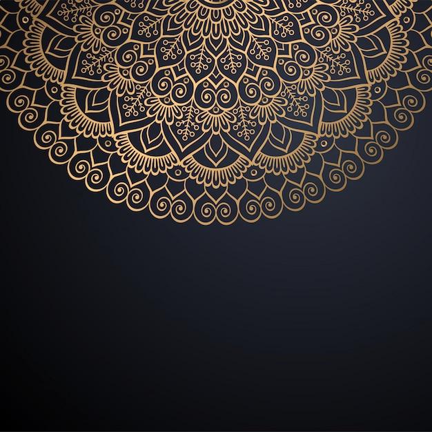 ゴールドカラーベクトルで豪華な装飾的なマンダラデザインの背景 無料ベクター