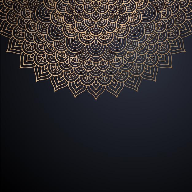 ゴールドカラーベクトルで豪華な装飾的なマンダラデザインの背景 Premiumベクター