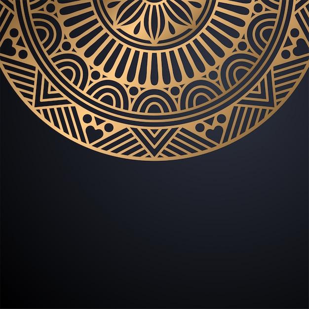 Роскошный декоративный фон дизайна мандалы в векторе золотого цвета Бесплатные векторы