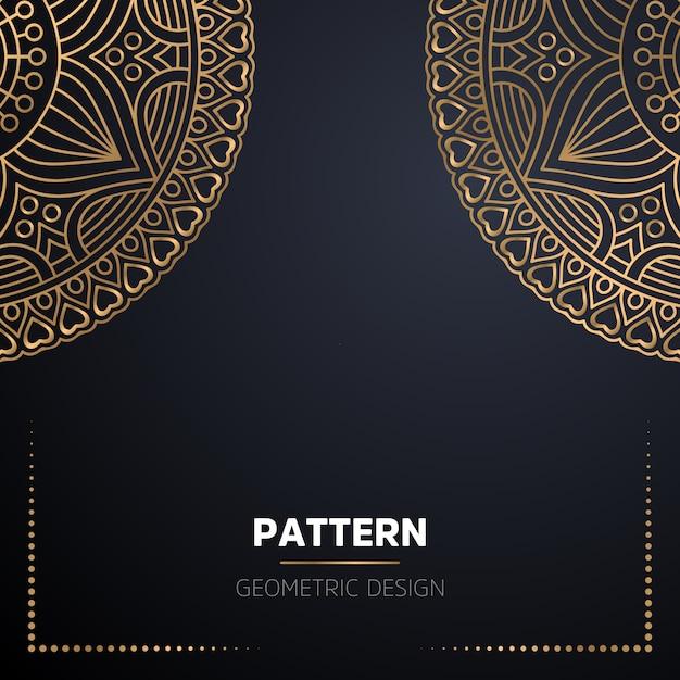 ゴールドカラーの豪華な装飾的なマンダラデザインの背景 無料ベクター