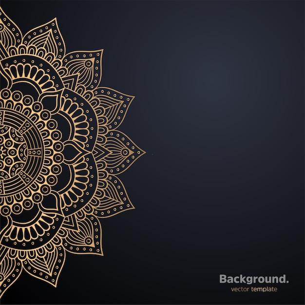 ゴールドカラーの豪華な装飾用曼荼羅デザインの背景 無料ベクター