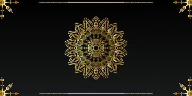 ゴールドカラーの豪華な装飾的なマンダラデザインの背景 Premiumベクター