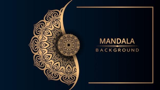 Luxury ornamental mandala design background with golden color Premium Vector