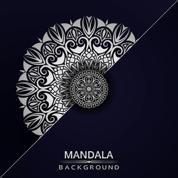 Luxury ornamental mandala design background with silver color Premium Vector