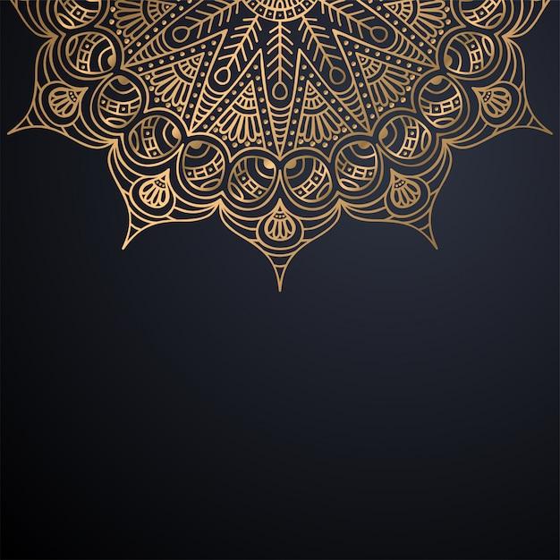 豪華な装飾的なマンダラデザインの背景 無料ベクター