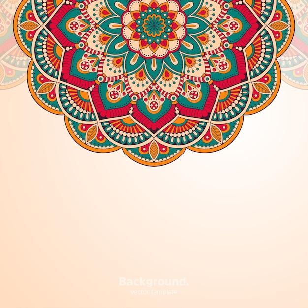 豪華な装飾用曼荼羅デザインの背景 無料ベクター