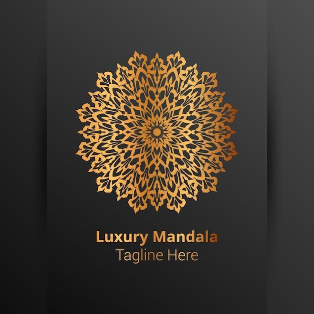 Роскошный орнаментальный логотип мандалы, стиль арабески. Premium векторы