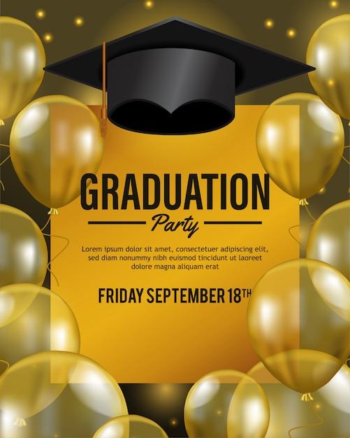 Luxury party for celebrate graduation Premium Vector