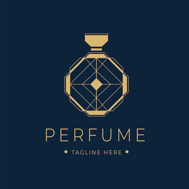 Luxury perfume logo with bottle Free Vector