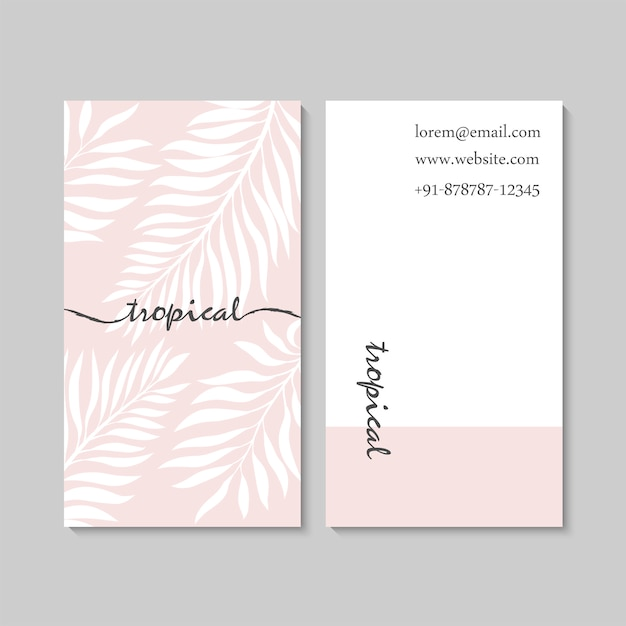 Luxury pink business card template with tropical leaves. Free Vector