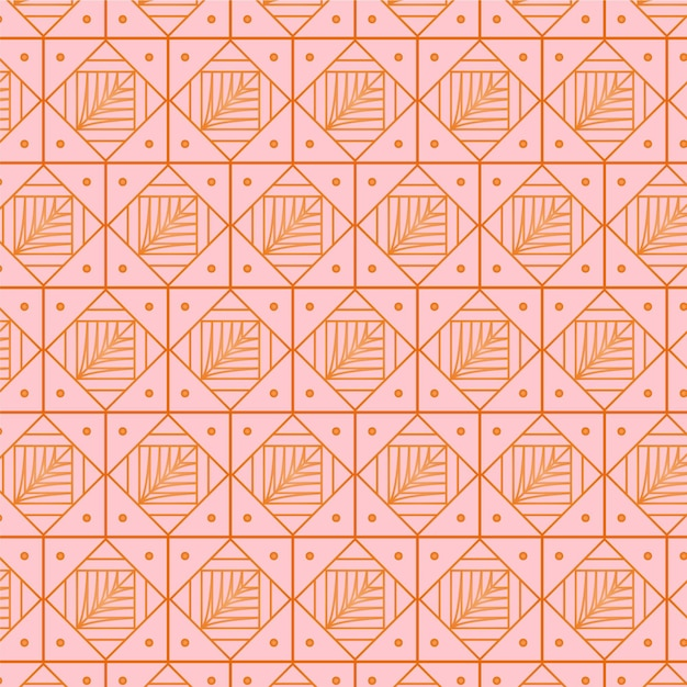 Luxury pink rose art deco seamless pattern Free Vector