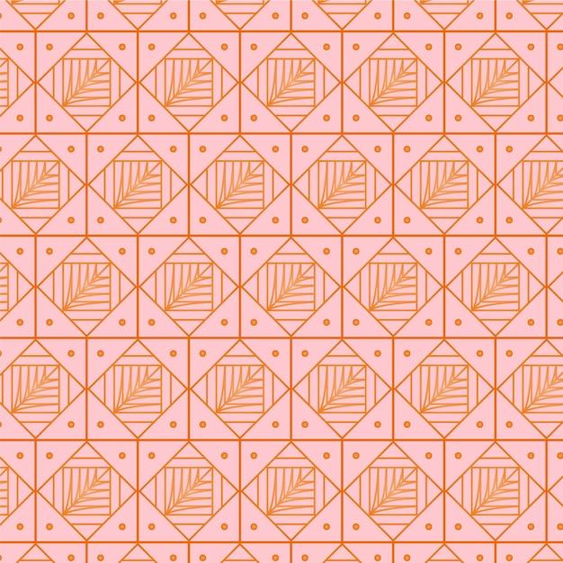 豪華なピンクのバラのアールデコのシームレスパターン 無料ベクター