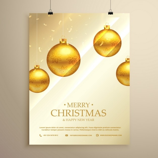 Luxury Poster With Golden Christmas Balls And Confetti