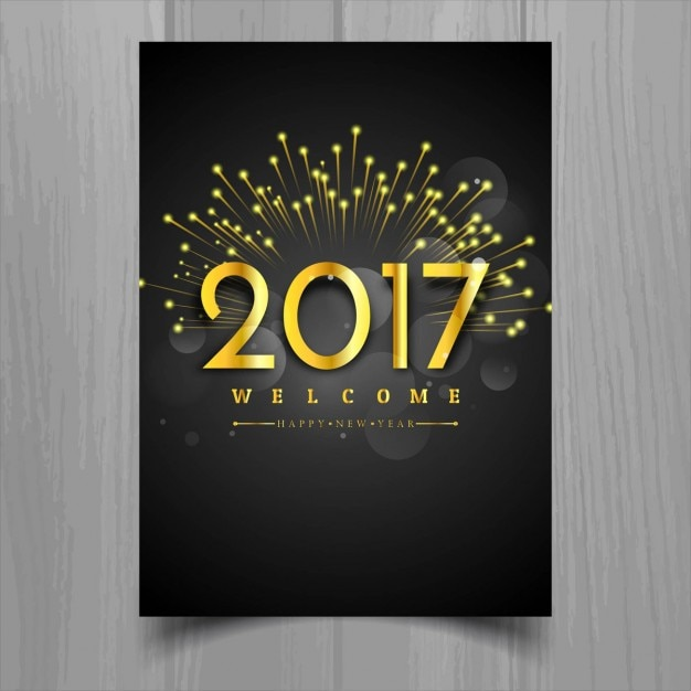 Luxury poster with golden numbers for new year Free Vector