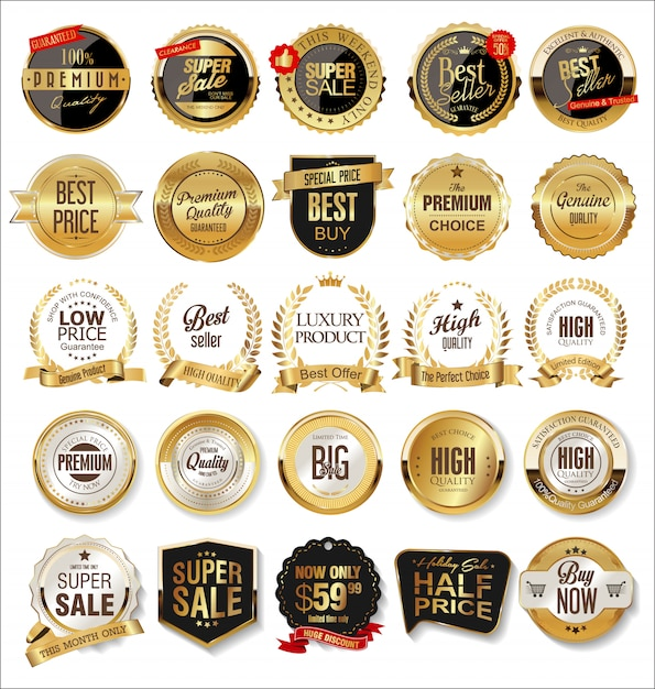Luxury premium golden badges and labels Premium Vector