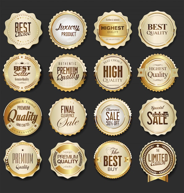 Luxury premium golden badges Premium Vector