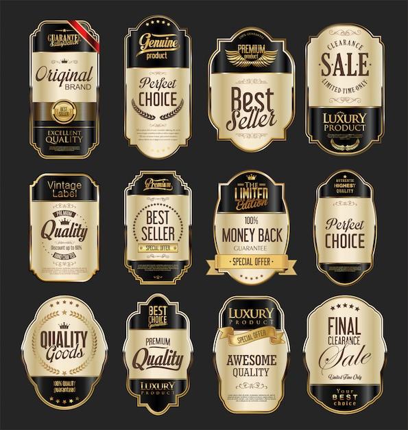 Luxury premium golden badges Premium Vector