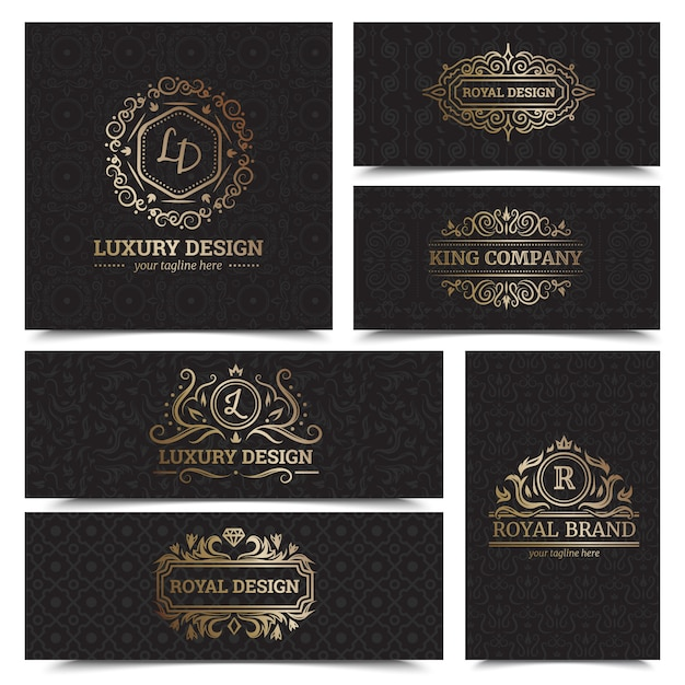 Luxury products labels design set with royal brand symbols flat isolated vector illustration Free Vector