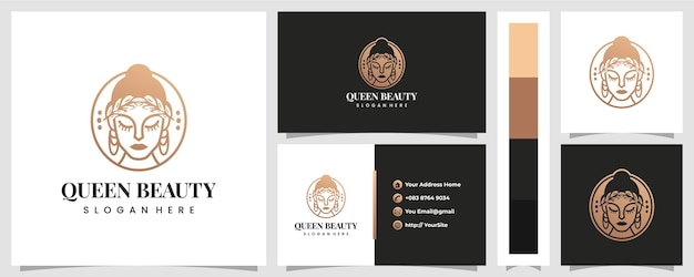 Luxury queen beauty logo  with business card template Premium Vector