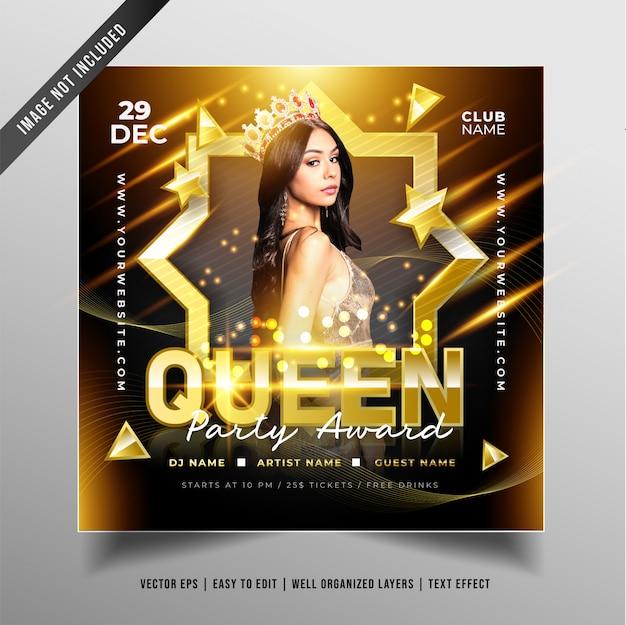 Роскошный дизайн queen party для продвижения в социальных сетях Бесплатные векторы