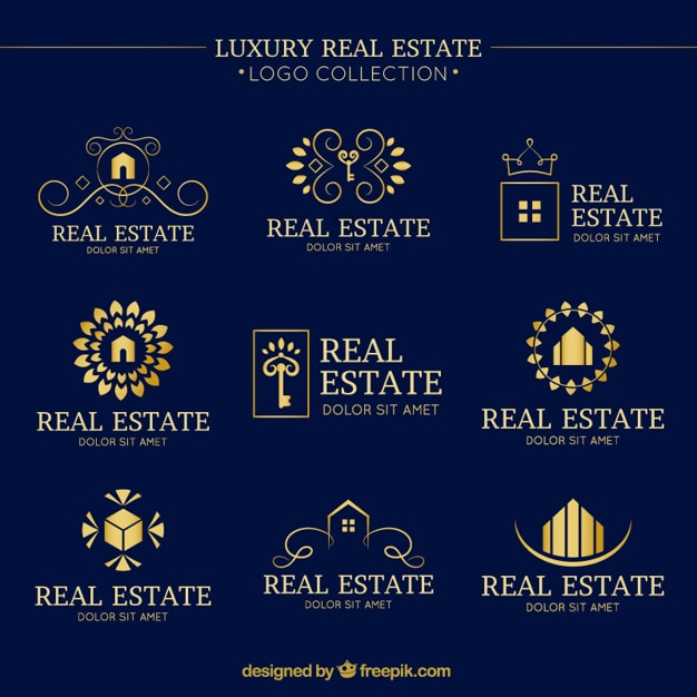Luxury real estate logo collection with folden details Free Vector