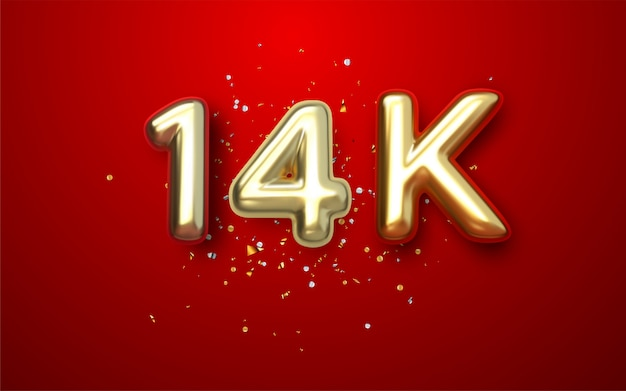 Luxury red gold 14k, 14.000 follower thank you gold ribbon Premium Vector