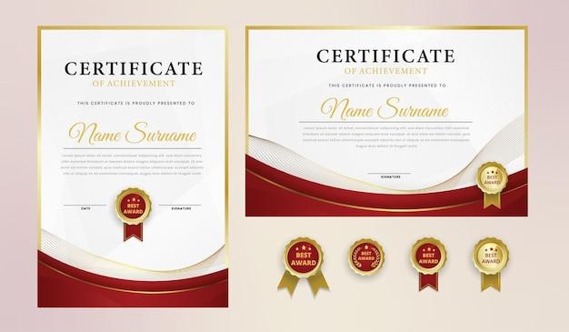 バッジとボーダーテンプレート付きの豪華なレッドゴールド証明書 Premiumベクター