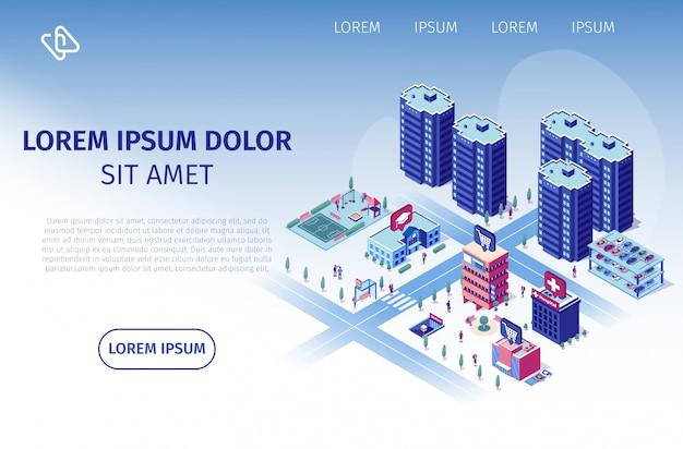Luxury residential complex vector web banner Premium Vector
