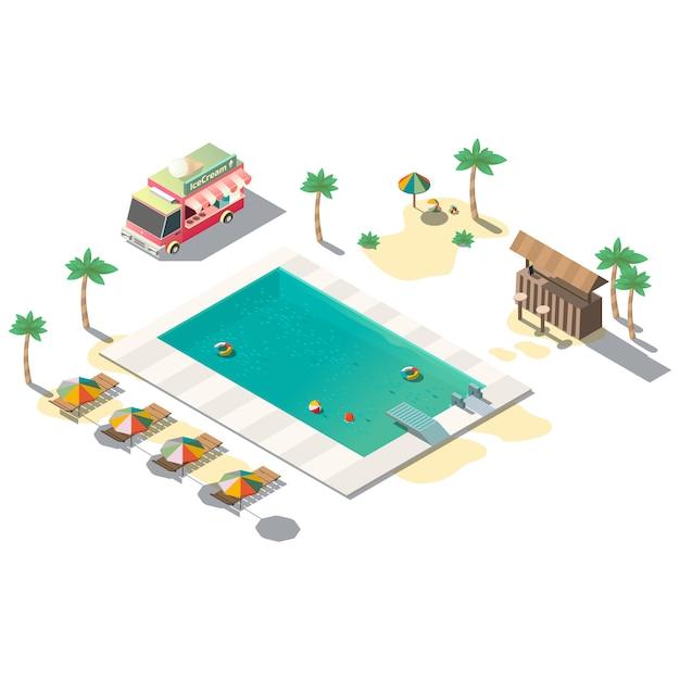 Luxury resort swimming pool Free Vector