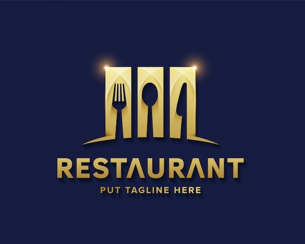 Luxury restaurant logo for business Premium Vector