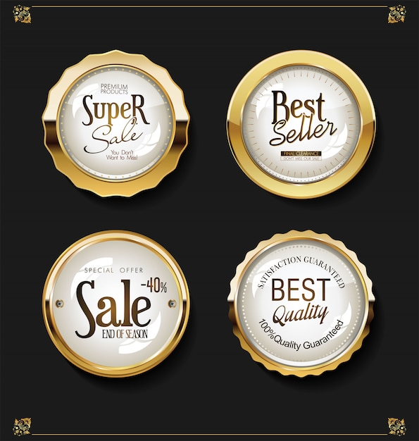 Luxury retro badges gold and silver vector collection Premium Vector